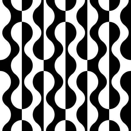 원활한 곡선 모양 패턴입니다. 벡터 검은 색과 흰색 배경 일러스트