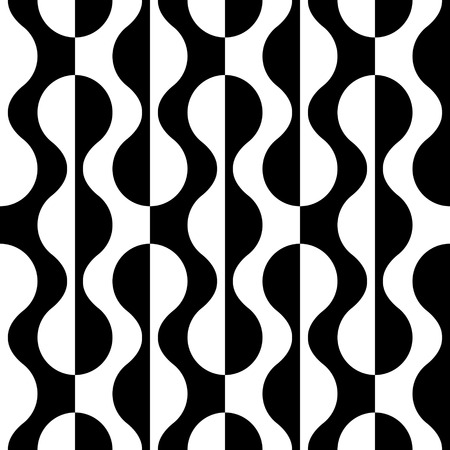 Seamless Curved Shape Pattern. Vector Black and White Background Stok Fotoğraf - 54253288