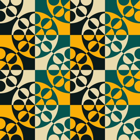 vintage patterns: Seamless Circle, Square and Triangle Pattern. Vector Background