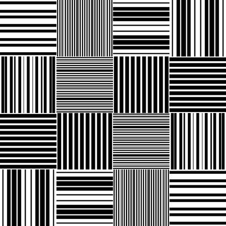 normal: Seamless Square and Stripe Pattern. Abstract Monochrome Background. Vector Regular Texture Illustration