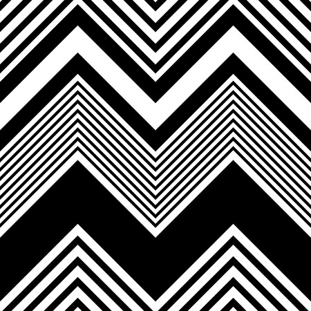 Seamless ZigZag Pattern. Abstract  Black and White Background. Vector Regular Texture Vettoriali