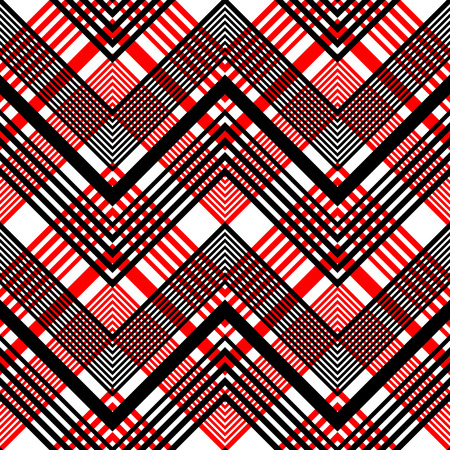 red plaid: Seamless Plaid Pattern. Vector Black and Red Background