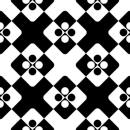 normal: Seamless Square and Circle Pattern. Abstract Black and White Background. Vector Regular Texture