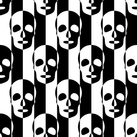 シームレスな頭蓋骨と縞模様。黒と白の抽象的な背景。ベクトルの標準テクスチャ