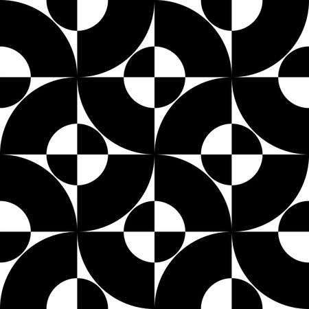futuristic wallpaper: Seamless Curved Shape Pattern. Vector Black and White Background