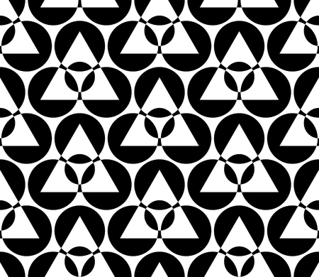 circle abstract: Seamless Circle and Triangle Pattern. Abstract Black and White Background Illustration