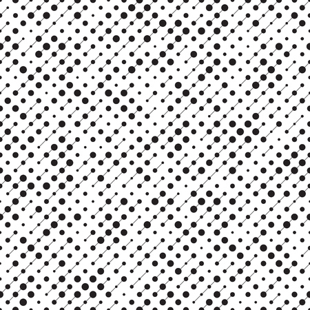 Seamless Circle Pattern. Vector Black and White Background Çizim