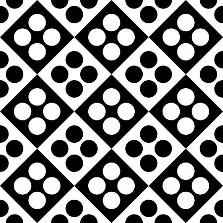 stripes seamless: Seamless Square and Circle Pattern. Abstract Black and White Background. Vector Regular Texture