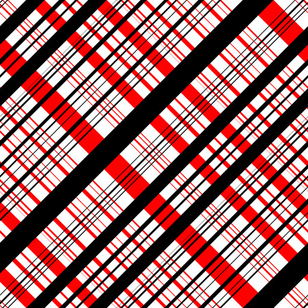 red and white: Seamless Tartan Pattern. Vector Black and Red Background