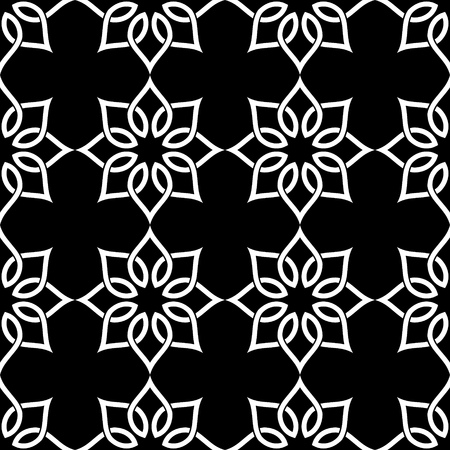 oriental pattern: Seamless Oriental Ornament. Abstract Black and White Background. Vector Geometric Pattern