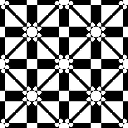 シームレスなグリッド パターン。黒と白のベクトルの背景。標準のテクスチャ