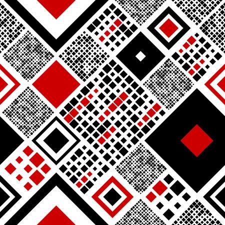 Motif carré sans soudure. Fond noir et rouge de vecteur