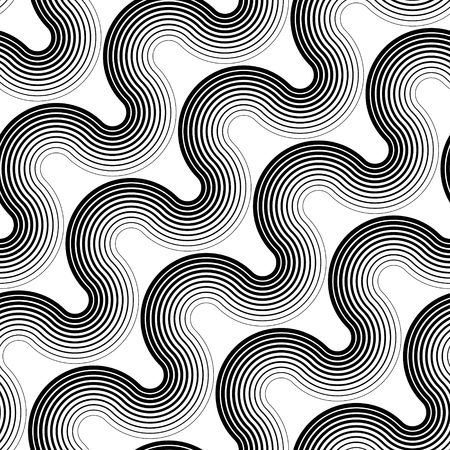 white wave: Seamless Wave and Stripe Pattern. Black and White Regular Texture Illustration