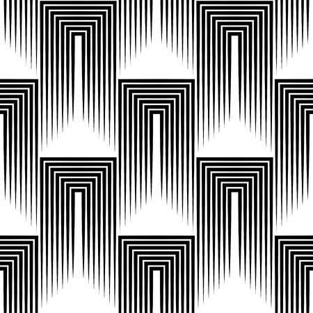 Seamless Square and Stripe Pattern. Abstract Monochrome Background. Vector Regular Texture  イラスト・ベクター素材