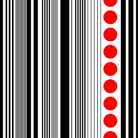 Seamless Vertical Stripe Pattern. Vector Black and Red  Background Ilustracja