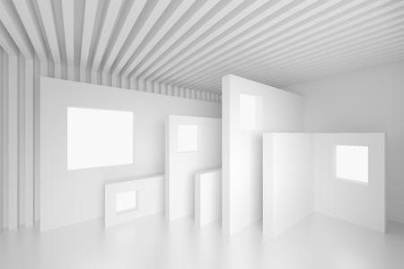 3d White Abstract Interior Design Stockfoto