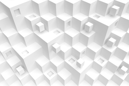 chaotic: 3d White Cube Background. Modern Architecture Design