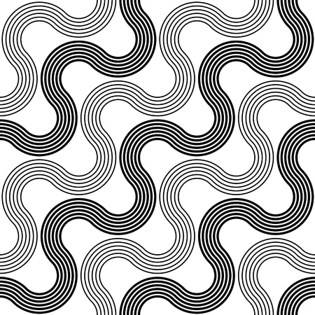 Seamless Wave and Stripe Pattern. Black and White Regular Texture Illustration