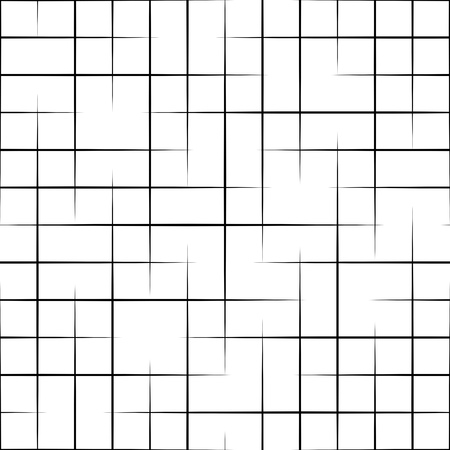 Seamless Grid Pattern. Vector Black and White Background. Regular Texture  イラスト・ベクター素材