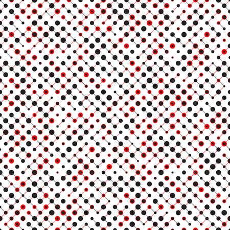 red and white: Seamless Circle Pattern. Vector Black and Red Background Illustration