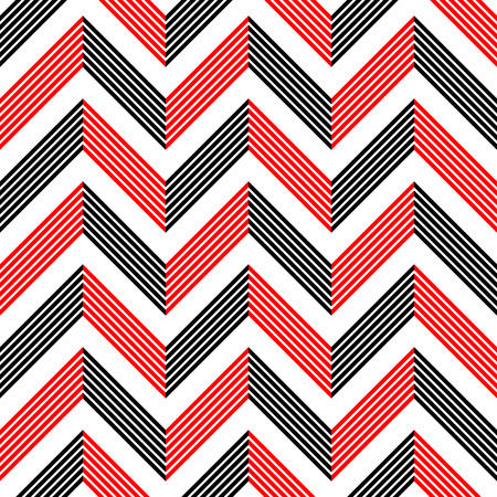 Seamless ZigZag Pattern. Abstract  Black and Red Background. Vector Regular Texture