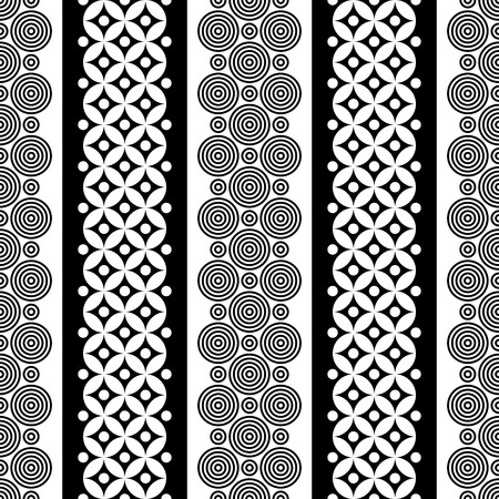 fabric pattern: Seamless Curved Shape Pattern. Vector Black and White Background