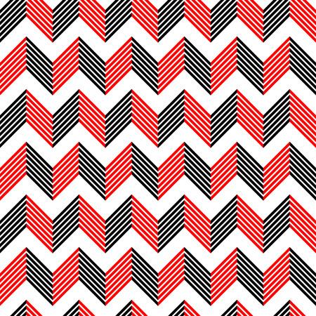 Seamless ZigZag Pattern. Resumen de fondo negro y rojo. Vector textura regular