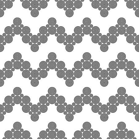 circle pattern: Seamless Circle and ZigZag Pattern. Abstract  Monochrome Background. Vector Regular Texture