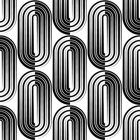 ellipse: Seamless Vertical Stripe and Ellipse Pattern. Vector Black and White Background Illustration