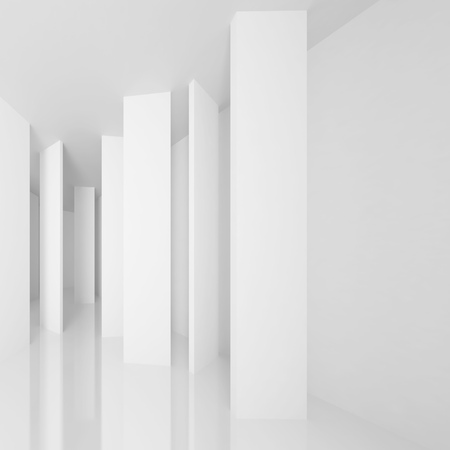 White Architecture Background. Abstract Gallery Interior