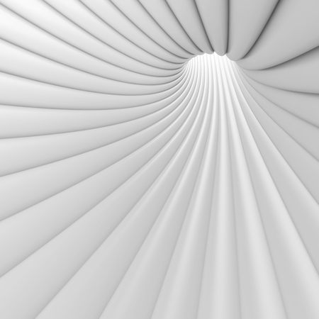 3d Abstract Tunnel Background. White Circular Building
