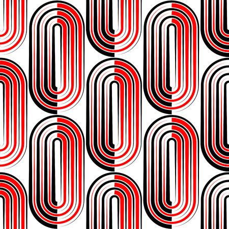 arte moderno: Sin fisuras patrón de rayas verticales y Elipse. Vector y Negro Fondo Rojo Vectores