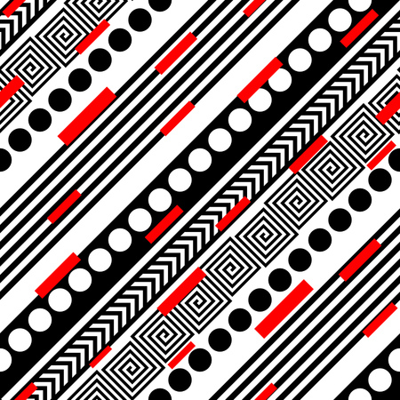 black and red: Seamless Geometric Pattern. Vector Black and Red Texture