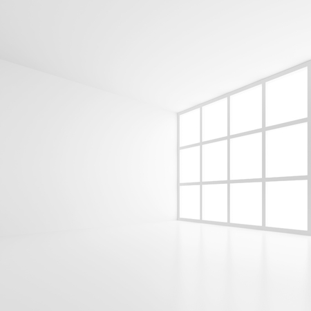 empty office: 3d Modern Interior Background. White Empty Room