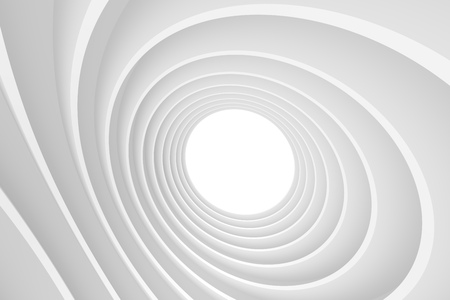 circular: 3d Abstract Architecture Background. White Circular Building