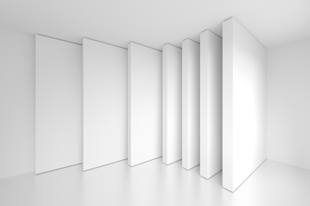 corporate buildings: White Architecture Construction. 3d Abstract Background Stock Photo