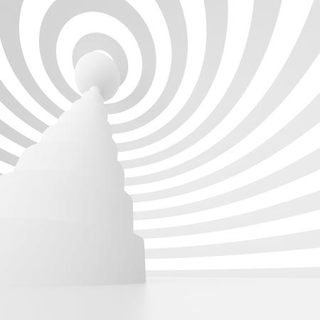 antenna: 3d Abstract Antenna Background. White Circular Construction