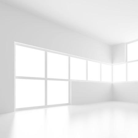 Modern Interior Background. White Empty Room Standard-Bild