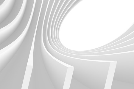 white abstract: 3d Abstract Architecture Background. White Circular Design