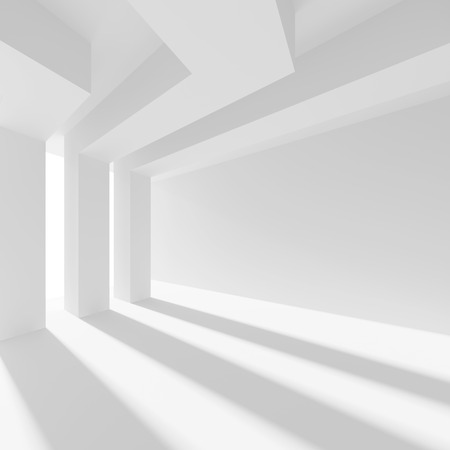 empty room: 3d Illustration of White Architecture Background. Abstract Column Design