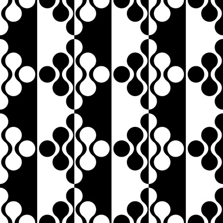 curved lines: Seamless Curved Shape Pattern. Vector Black and White Background