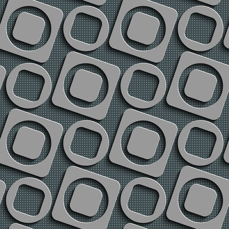 metal plate: Seamless Square and Circle Pattern. Vector Regular Texture
