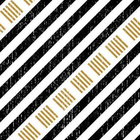 Modelo inconsútil del cuadrado y de la raya. Fondo abstracto del negro y del oro. Textura regular del vector Ilustración de vector