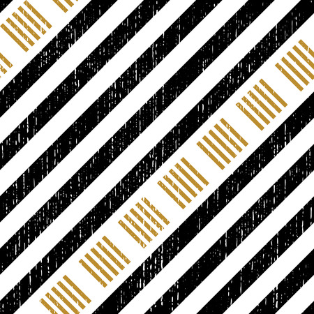 square abstract: Seamless Square and Stripe Pattern. Abstract Black and Gold Background. Vector Regular Texture