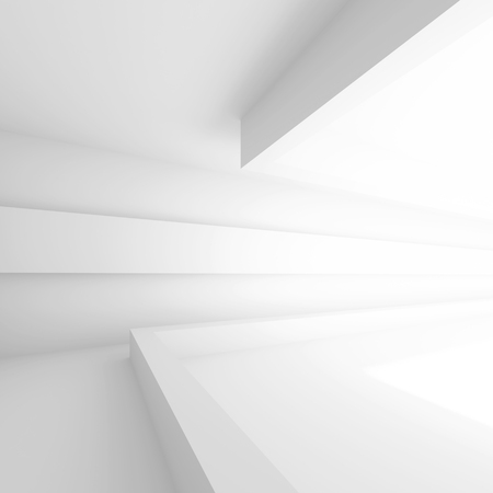 3d White Building Construction. Abstract Architecture Background