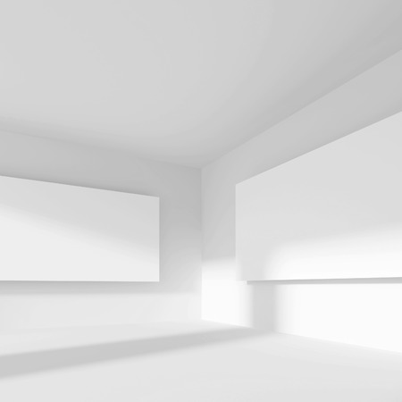 gallery interior: 3d Rendering of Abstract Gallery Interior. White Modern Background