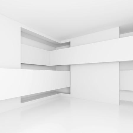 modern interior design: 3d illustration of Abstract Interior Design. White Modern Background
