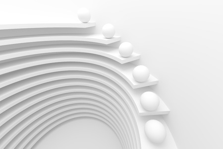 modern background: 3d Illustration of White Circular Construction. Modern Architecture Background Stock Photo