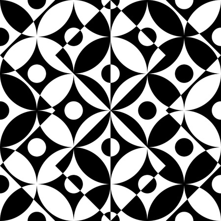 vintage patterns: Seamless Curved Shape Pattern. Vector Black and White Background