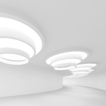 minimal: white Futuristic Tunnel. Abstract Architecture Background. 3d Rendering Stock Photo